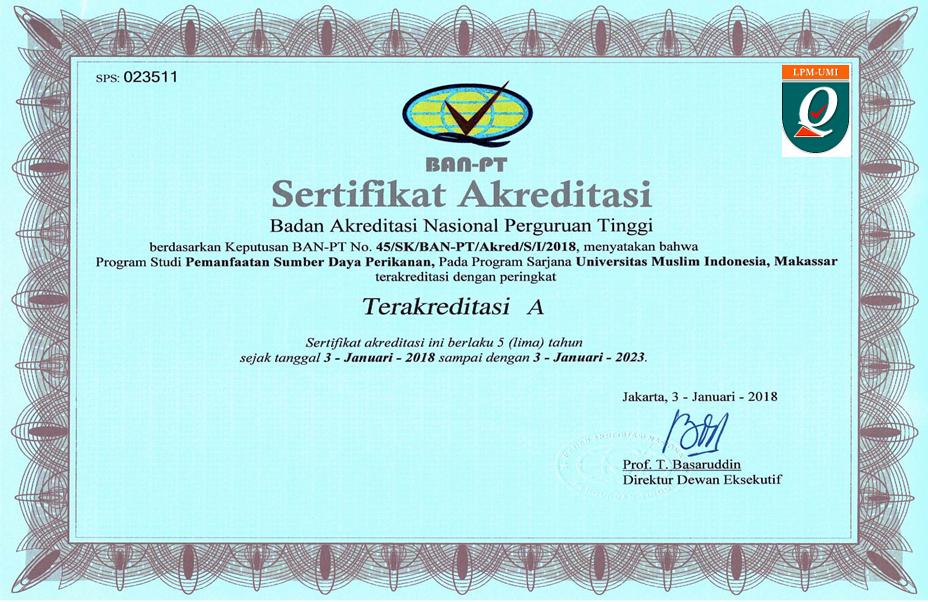 SK Akreditasi S1 Pemanafaatan Sumber Daya Perikanan UMI 2018