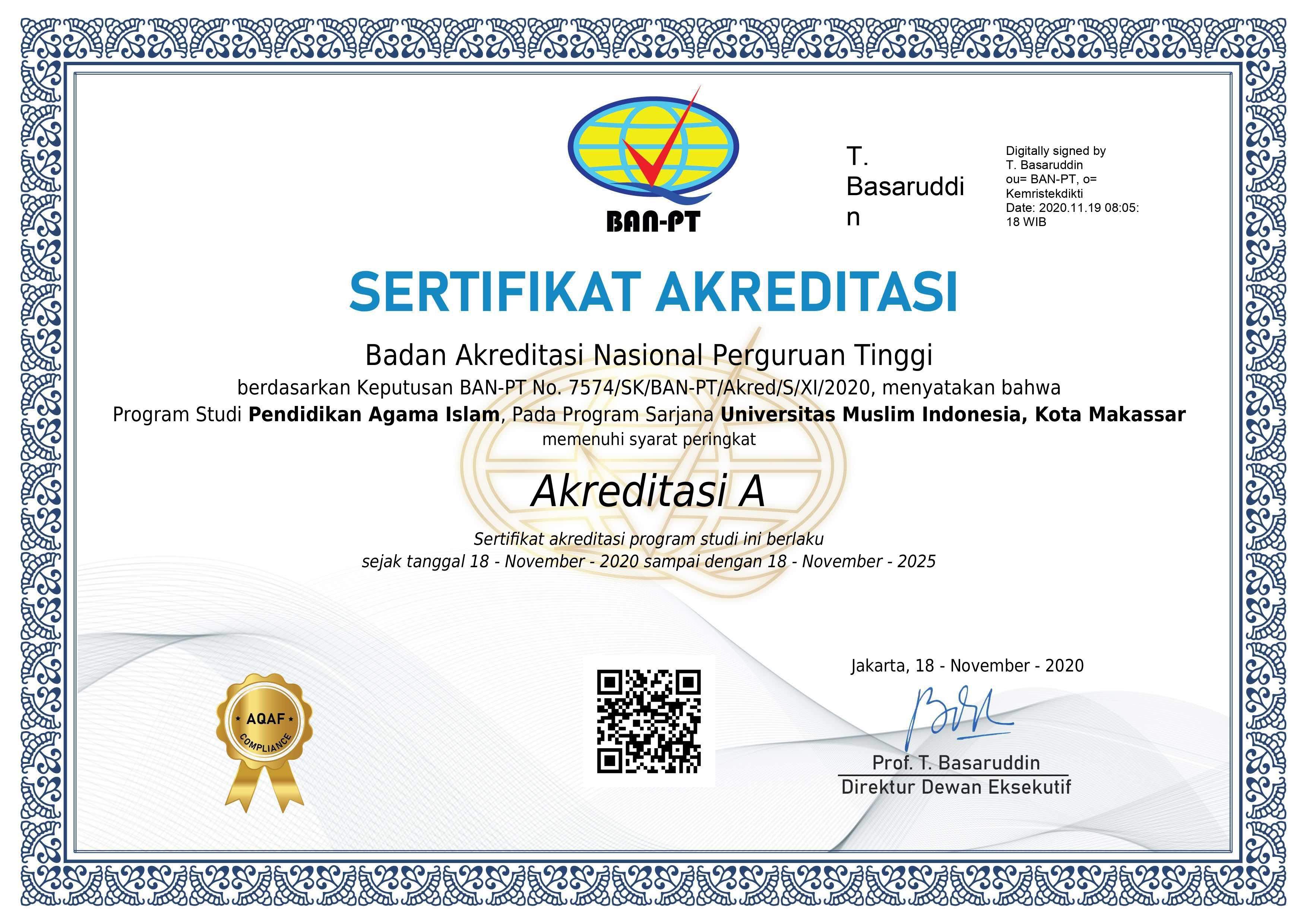 Sertifikat Akreditasi S1 Pendidikan Agama Islam UMI 2020