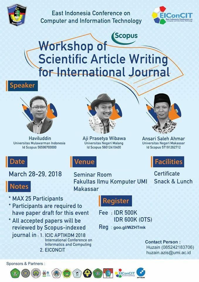 Workshop Scientific Article Writing for International Jurnal 2018