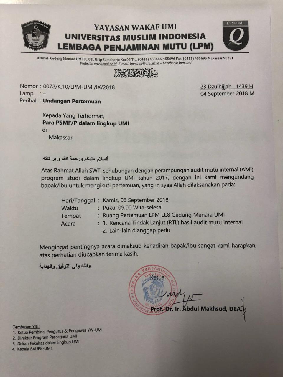 Undangan Pertemuan Para PSMF/P dalam linkup UMI